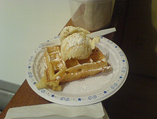 On our dates we have hot waffles and ice cream.